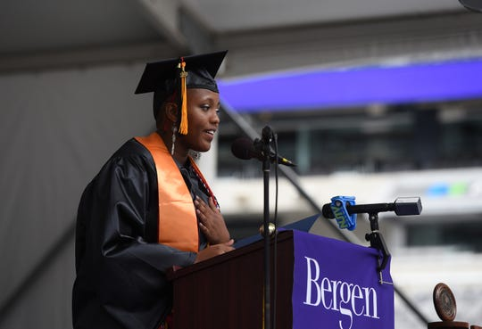 Valedictorian Lindsey Njanja gives the Valedictory Address during the Bergen Community College 2019 Commencement at MetLife Stadium in East Rutherford on 05/23/19.