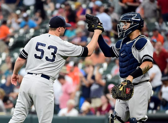 May 23, 2019; Baltimore, MD, USA; New York Yankees pitcher Zack Britton (53) high fives catcher Gary Sanchez (24) after beating the Baltimore Orioles 6-5 at Oriole Park at Camden Yards.