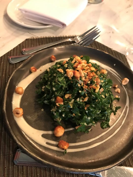 The chopped kale salad wth bulgur wheat, beemster gouda, mint and hazelnut vinaigrette at Fascino in Montclair.