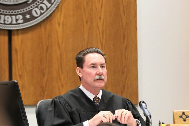 District Judge James T. Martin asks questions during a hearing on recall petitions for three school board members at Third Judicial District Court on Thursday, May 23, 2019.