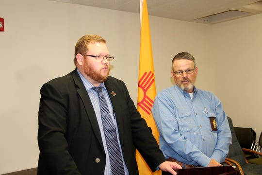 Twelfth Judicial District Attorney John Sugg speaks at a press conference following Andrew Magill's plea change hearing as Lincoln County Sheriff Robert Shepperd looks on.