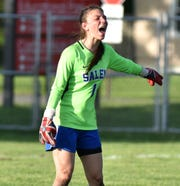 Salem goalie Gwen Pratt spent most of the first half no where near the ball, as it was in Franklin's zone, so she ended up yelling positioning suggestions to her teammates.