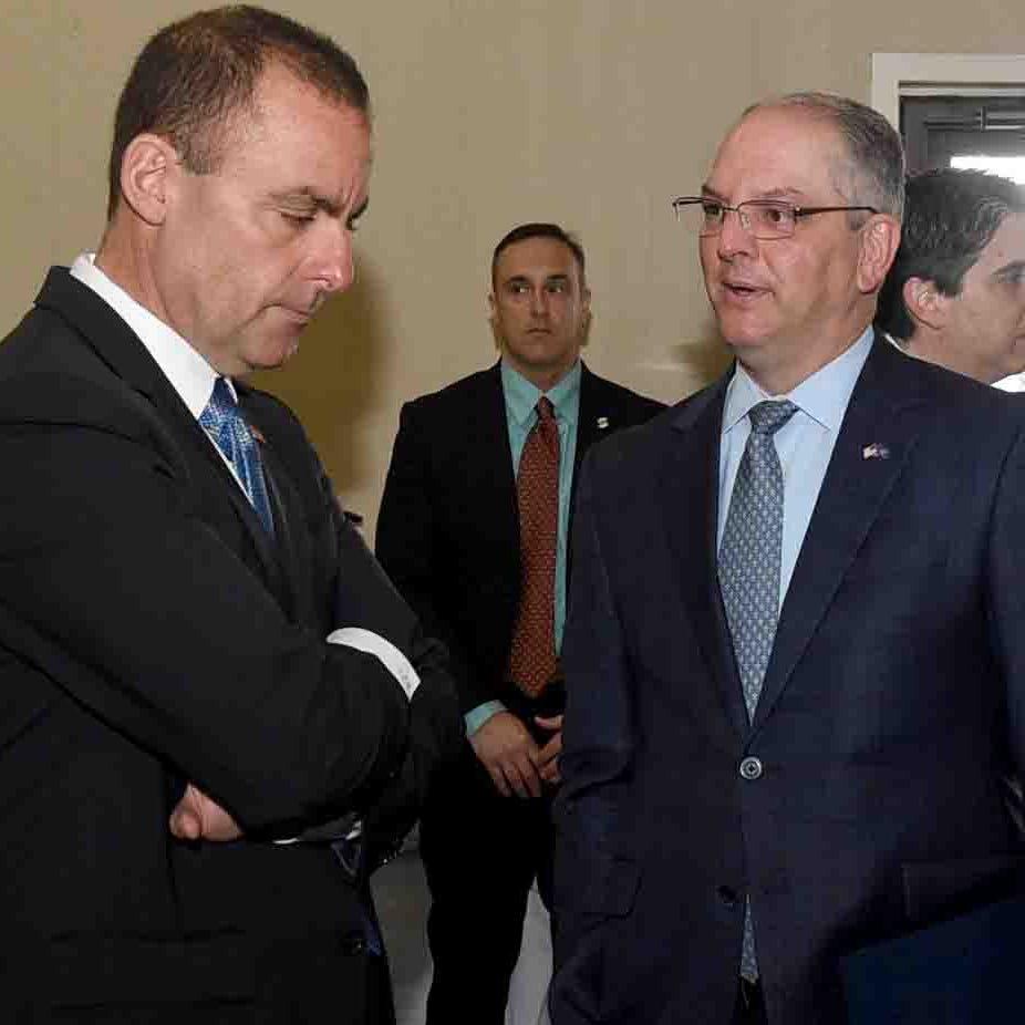 La. Gov. John Bel Edwards talks with Uzi Yemin, Delek U.S. United States chairman,Thursday at the Delek U.S. Refinery in Krotz Springs.