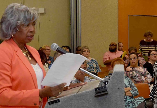 Elsie Semien addresses the St. Landry Parish School Board at a May 1 meeting.
