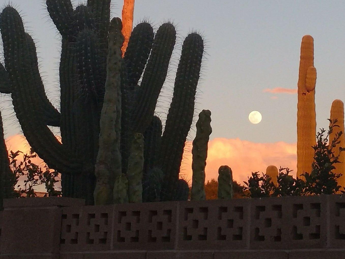 Sun City sunset and moonrise.