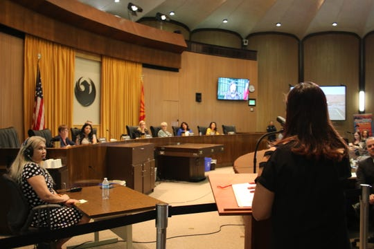 Poder in Action Executive Director Viridiana Hernandez speaks to the Phoenix City Council about people killed by police on May 22, 2019.
