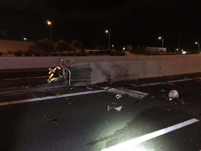 1 person was killed in a crash late Wednesday when a vehicle struck a wall at the Loop 101 transition with Loop 202 in Chandler, according to the Arizona Department of Public Safety.