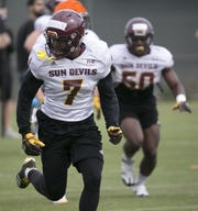 ASU defensive back Dominique Harrison during an ASU football spring practice at the Kajikawa practice fields in Tempe on Thursday, March 22, 2018.