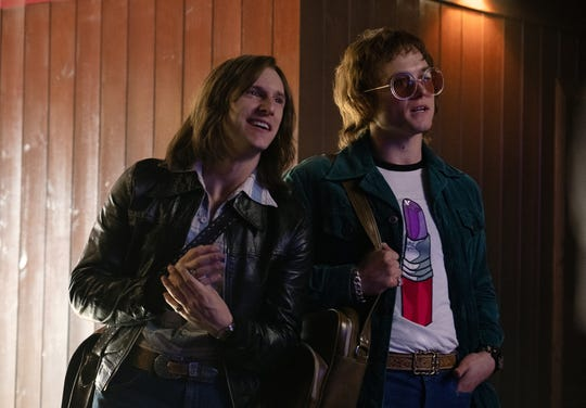 "Bernie Taupin (Jamie Bell) and Elton John (Taron Egerton) form a partnership in ""Rocketman."""