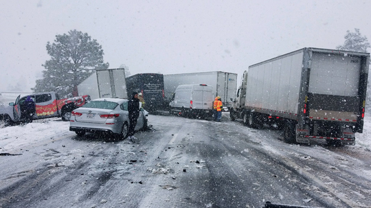Snowstorm caused a multivehicle collision on Interstate 40 near Flagstaff on May 23, 2019.