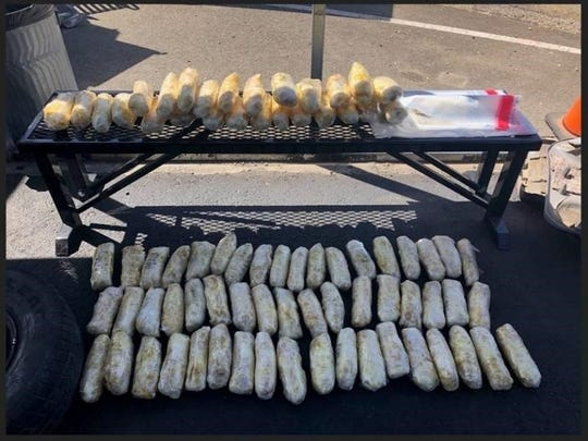 U.S. Border Patrol says it found 80 packages of methamphetamine hidden in a red Chevrolet Blazer near Yuma. (Image courtesy of U.S. Customs and Border Protection)