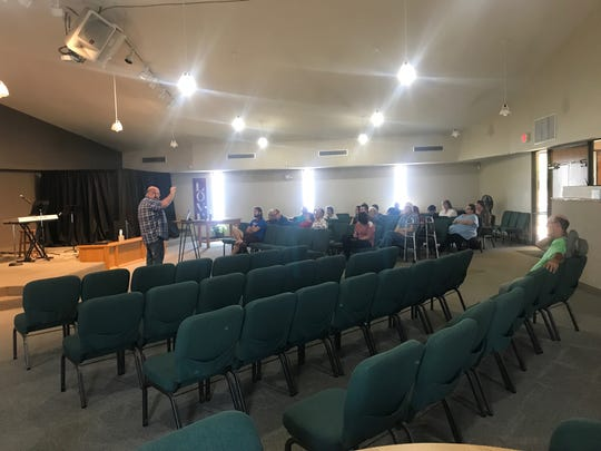 Jareb Collins preaches to congregants at Desert Hope Wesleyan Church on Sunday, May 12, 2019.