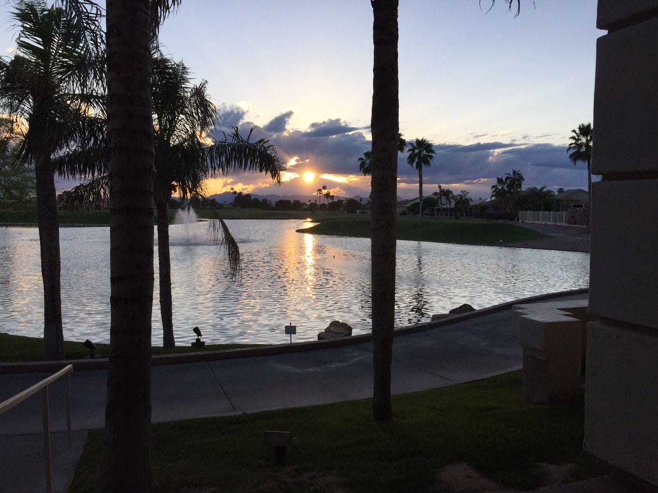 Sunset at Oakwood Clubhouse in Sun Lakes.