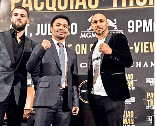 Manny Pacquiao y Keith Thurman, frente a frente.