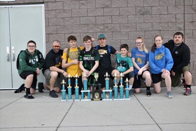 The newly formed Northern Lebanon powerlifting team that took third place at the Iron Ram Invitational. From left, Coach Hunter Wallace, Coach Ken Battistelli, Kayden Clark, Seth Fischer, Nick Winters, Vincent Battistelli, Rachel Papson, Crystal Bomgardner, Coach Rusty Wallace