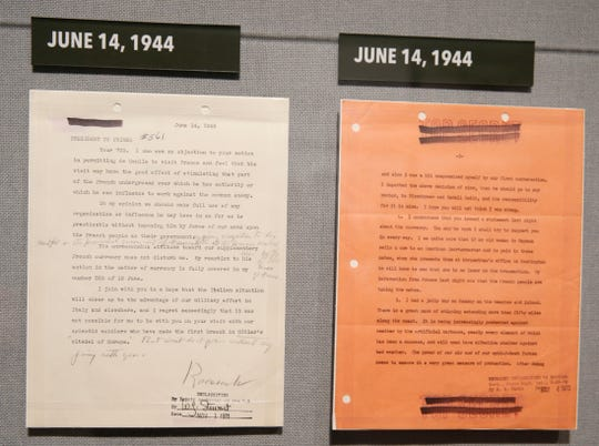 """Documents containing information of the battle progress following D-Day on display in the upcoming exhibit """"D-Day: FDR and Churchill's 'Mighty Endeavor'"""" at the FDR Library and Museum on May 21, 2019. The exhibit opens on May 25th."""