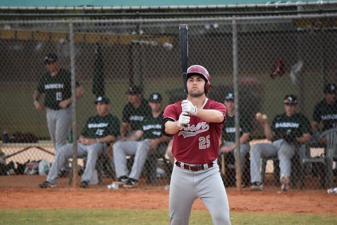 Vassar College's Bryan Rubin steps into the batter's box during a 2019 baseball game.