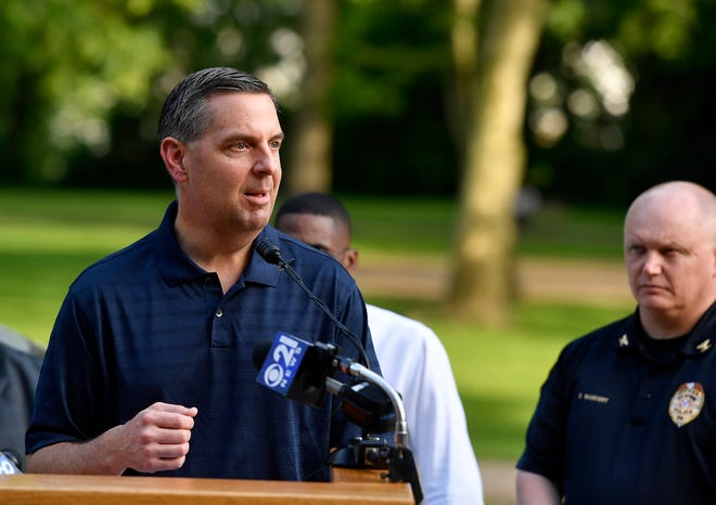 David Freed, U.S. Attorney's Office for the Middle District of Pennsylvania, and several federal, state and local law enforcement agencies join forces with the York City community to conduct neighborhood walks in York to reduce crime and build trust, Wednesday, May 22, 2019.John A. Pavoncello photo