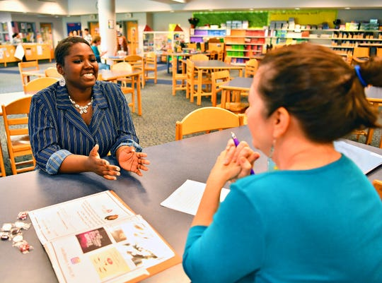 Eighth graders participate in mock job interviews at Hannah Penn K-8 School in York City, Thursday, May 23, 2019. The day is a culmination of efforts to train and guide students through the process of preparing a portfolio to market themselves for jobs, as well as coaching them through the interview process. Dawn J. Sagert photo