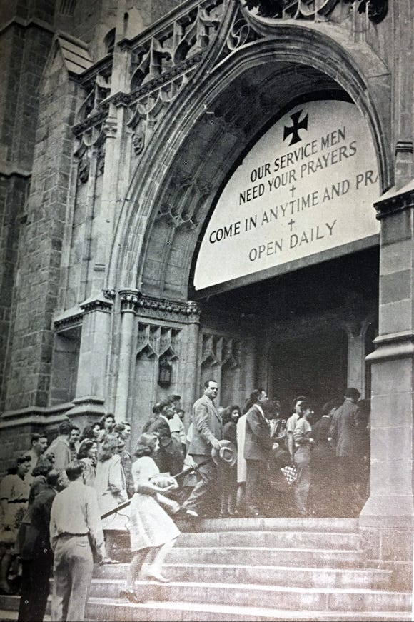 The public converges on Union Lutheran Church for D-Day services on June 6, 1944.