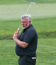 Darren Clarke just misses birdie on the 11th hole during the first round of the Senior PGA Championship. Clarke finished at 2-under par.