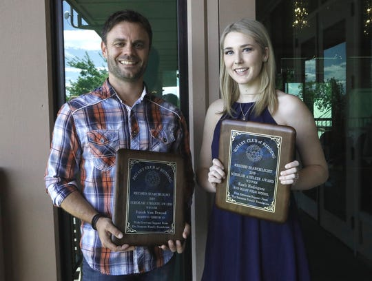This year's overall winners were Redding Christian's Isaiah Van Denend, who was on a class trip and had his father, Mark, accept the award, and Red Bluff's Karli Rodriguez.