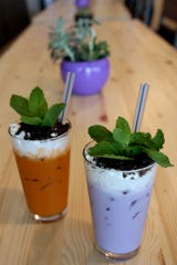 Thai and Taro Potted Plant Milk Teas at Ibendoo Ramen in Salem on May 23, 2019.
