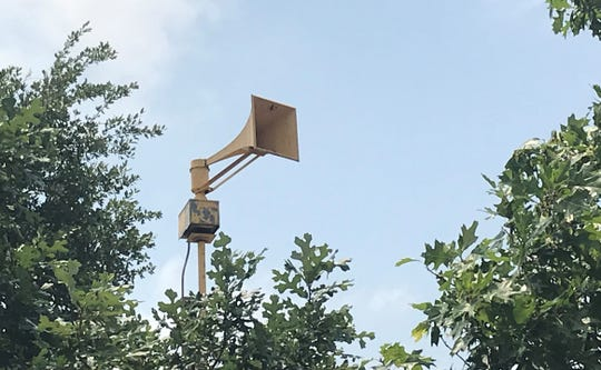 A disconnected air-raid siren rises above the rooftops on Chadbourne Street between 19th and 20th streets in San Angelo. For decades, the sirens would sound to alert residents of impending danger, such as tornadoes.