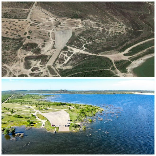 These photos tell the story of how much water San Angelo has received with Twin Buttes Reservoir's north boat ramp in October 2018 and in May 2019.