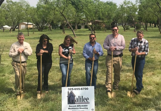 From left: Tom Green County Precinct 3 Commissioner Rick Bacon; Grape Creek ISD Superintendent Angie Smetana; Stephanie Hamby, Galilee CDC; Manny Campos, Galilee CDC; John Powell, USDA Rural Development;  Terry Shaner, Galilee CDC, all gathered for a ground-breaking ceremony for a new affordable housing project in Grape Creek on Wednesday, May 22.