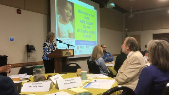 Roberta Newman, forum coordinator, speaks at the 2019 Kids Count Forum in Melfa, Virginia on Wednesday, May 22, 2019.