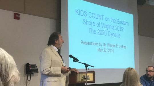 Bill O'Hare, a demographic and U. S. Census expert, speaks at the 2019 Kids Count Forum in Melfa, Virginia on Wednesday, May 22, 2019.