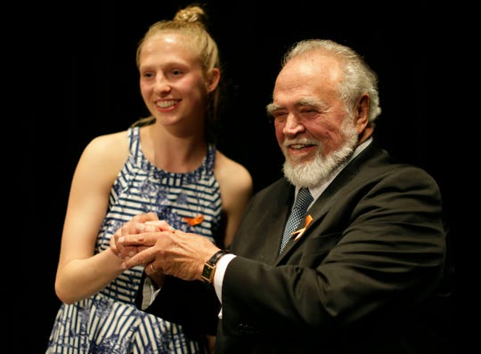 Herbert V. Kohler, Jr., right, poses with Herbert V. Kohler scholarship winner Kohler High School's Cecelia Zielke at the Kohler High School Honors Night, Wednesday, May 22, 2019, at Horace Mann Auditorium in Sheboygan, Wis.