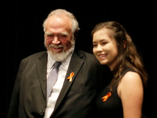 Herbert V. Kohler, Jr., left, poses with distinguished Ruth De Young scholarship winner Kohler High School's Clara Montes at the Kohler High School Honors Night, Wednesday, May 22, 2019, at Horace Mann Auditorium in Sheboygan, Wis.