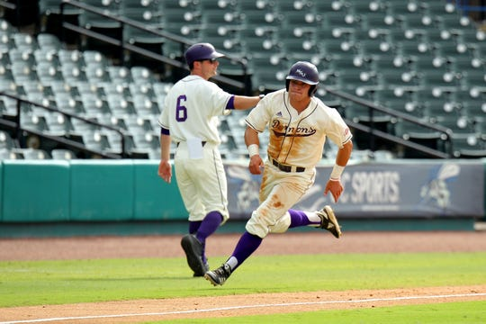 Chaney Dodge (right) heads around third base with the first run of the game for Northwestern State in a 6-4 loss to Southeastern Louisiana at the Southland Conference Tournament on Thursday morning.