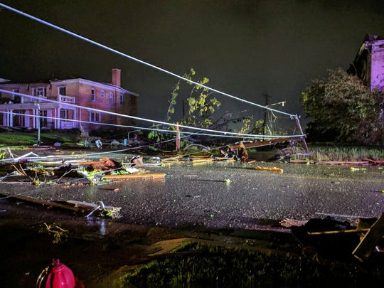This image posted on Twitter account of Stechshultsy shows tornado-hit Jefferson City. MO., Thursday, May 23, 2019. The National Weather Service has confirmed a large and destructive tornado has touched down in Missouri's state capital, causing heavy damage and trapping multiple people in the wreckage of their homes.(Stechshultsy via AP)