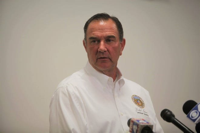 Missouri Lt. Gov. Mike Kehoe attends a press conference at the Cole County Sheriff's Office in Jefferson City after a tornado came through the area.