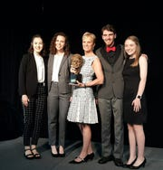 Hillcrest High School's Bay 11 podcast was honored May 23 at the 2019Robert F. Kennedy Book & Journalism Awards in Washington, D.C. From left, are Hillcrest staffers Sophia Vaughn and Emily Peebles; presenter Kerry Kennedy; and Hillcrest staffers Hayden Pyle, and Ellen Fountain.