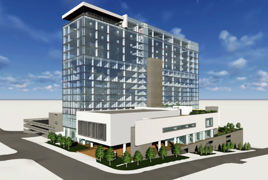 Latest rendering of the Washington Square, mixed-use development under construction on an entire 1-acre city block on the northeast corner of Calhoun Street behind the Leon County Courthouse.