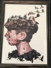 """Feather Head,"" by Chiles High School student Kate Kirchhoff. The self-portrait won the 2019 Congressional Art Competition for the Second Congressional District of Florida. the award was announced by U.S. Rep. Neal Dunn."