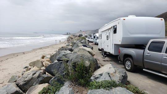 Recreational vehicles were parked Thursday at the Rincon Parkway campground north of Ventura ahead of the Memorial Day weekend.