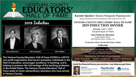 The keynote speaker for the Ventura County Educators' Hall of Fame induction ceremony is Simona Papadopoulos, who is married to a former Trump advisor convicted of lying to the FBI.