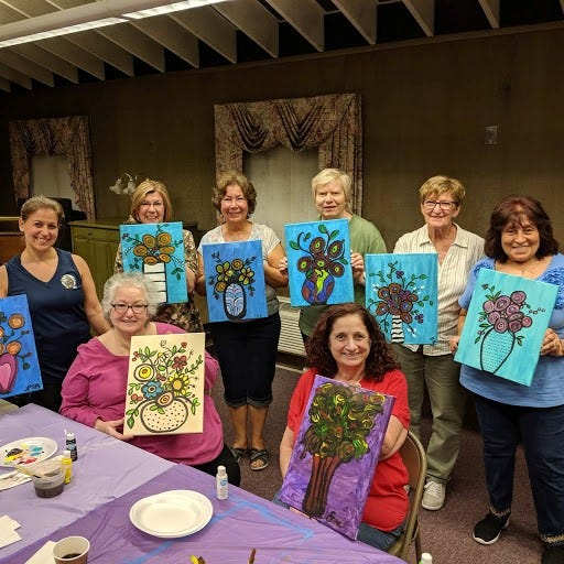 Members and guests of the Woman's Club of Vineland enjoyed a paint fundraiser held by Linda Gallina at the club house on May 21. Cindy Hays Scharnagl, a retired art teacher, shared some basic information on painting and creativity and provided easy instructions to the attendees. For club information, including how to join, call (856) 696-3944 or visit Woman's Club of Vineland on Facebook. (Front row, from left) Pamela Burke, Judy Fagotti and Eva Prestopino, and (back row, from left) Mary Wolfe, Shirley Burke, Doris Schalick, Zan Coia and Linda Gallina show off their creations.
