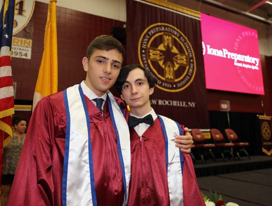 John Curanaj, the salutatorian and Matthew Hono, the valedictorian, are pictured as Iona Prep celebrated their 100th commencement at Iona College in New Rochelle, May 23, 2019.