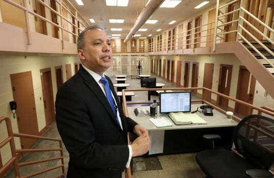 Louis Molina, First Deputy Commissioner at Westchester County Department of Correction, tours the Young Offenders My Brother's Keeper cell block at Westchester Correctional Facility May 23, 2019 in Valhalla. The Nepperhan Community Center in Yonkers used their grant from the Obama Foundation's My Brother's Keeper program to help renovate the block for these young men and offer them additional services.