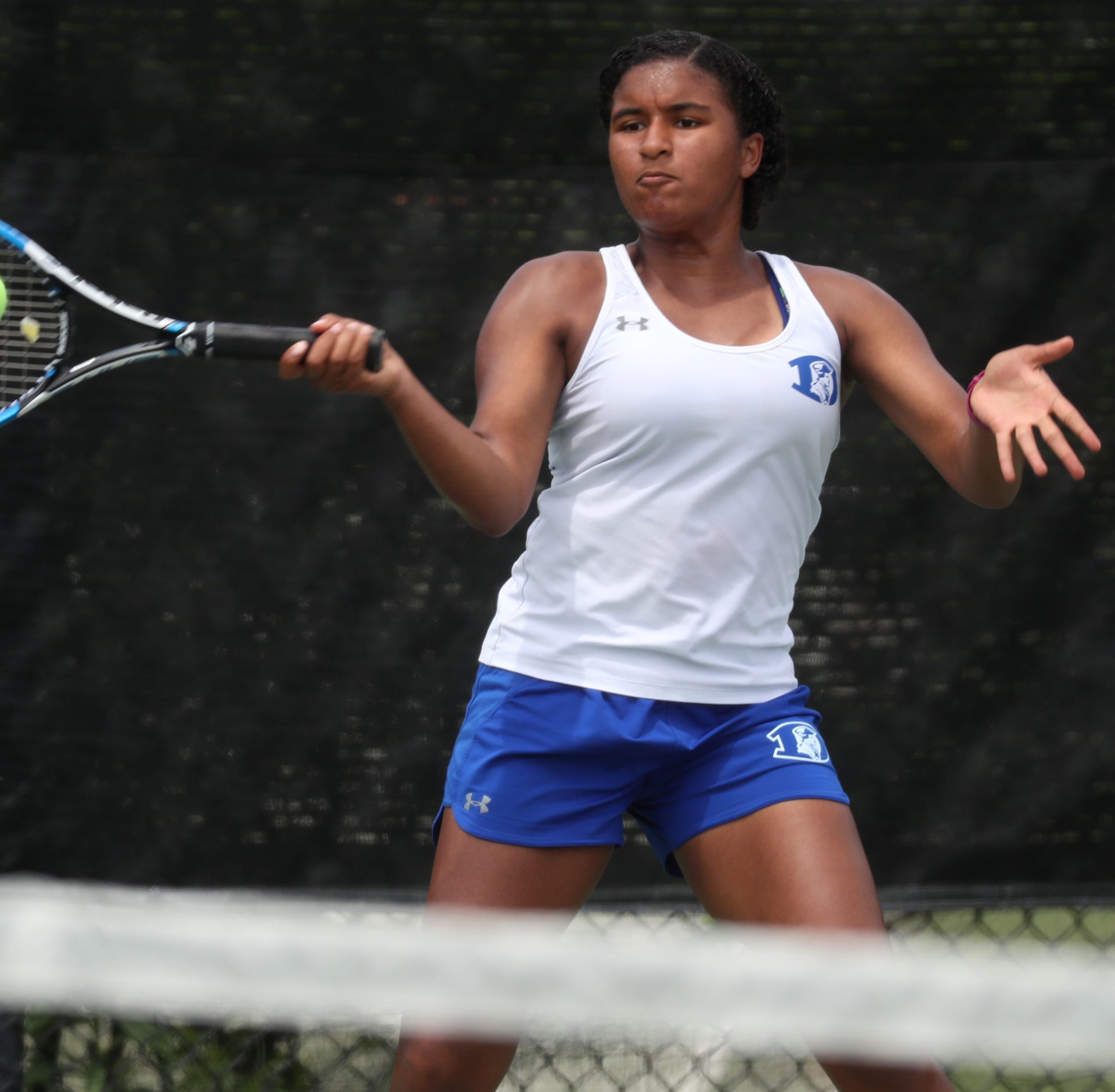 Dover's Victoria Anyanwu in action at the DIAA...
