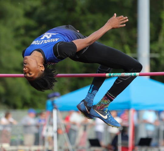 Middletown's Elijah Wilson competes en route to winning the high jump with a top jump of 6 feet 8 inches during the Rod Lambert Meet of Champions at Caravel Academy Wednesday.
