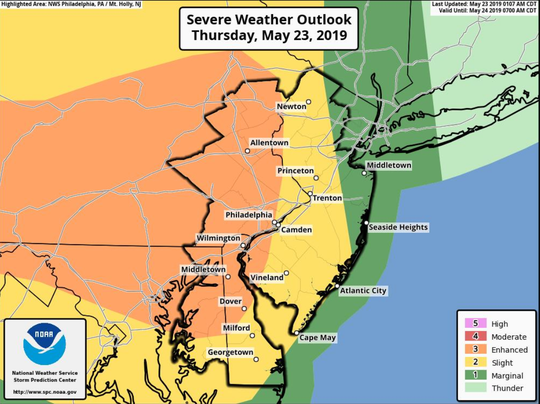 Hard-hitting wind, hail and tornadoes all are possibilities in Delaware when rounds of thunderstorms blow through Thursday evening, according to the National Weather Service.