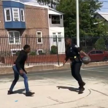 Wilmington officer runs the court with teen in viral basketball video