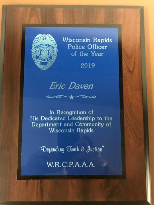"""Wisconsin Rapids Police Officer Eric Daven's name appears on this year's Wisconsin Rapids Citizens' Police Academy Alumni Association Officer of the Year"""" award."""